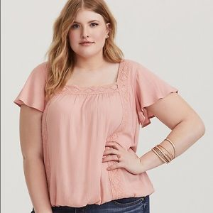 Pink lace plus size Torrid top